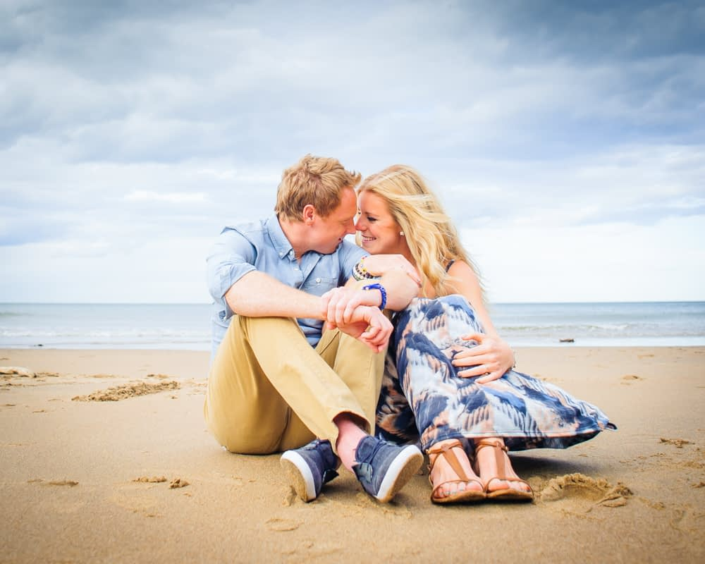 touching noses. engagement portraits Tynemouth