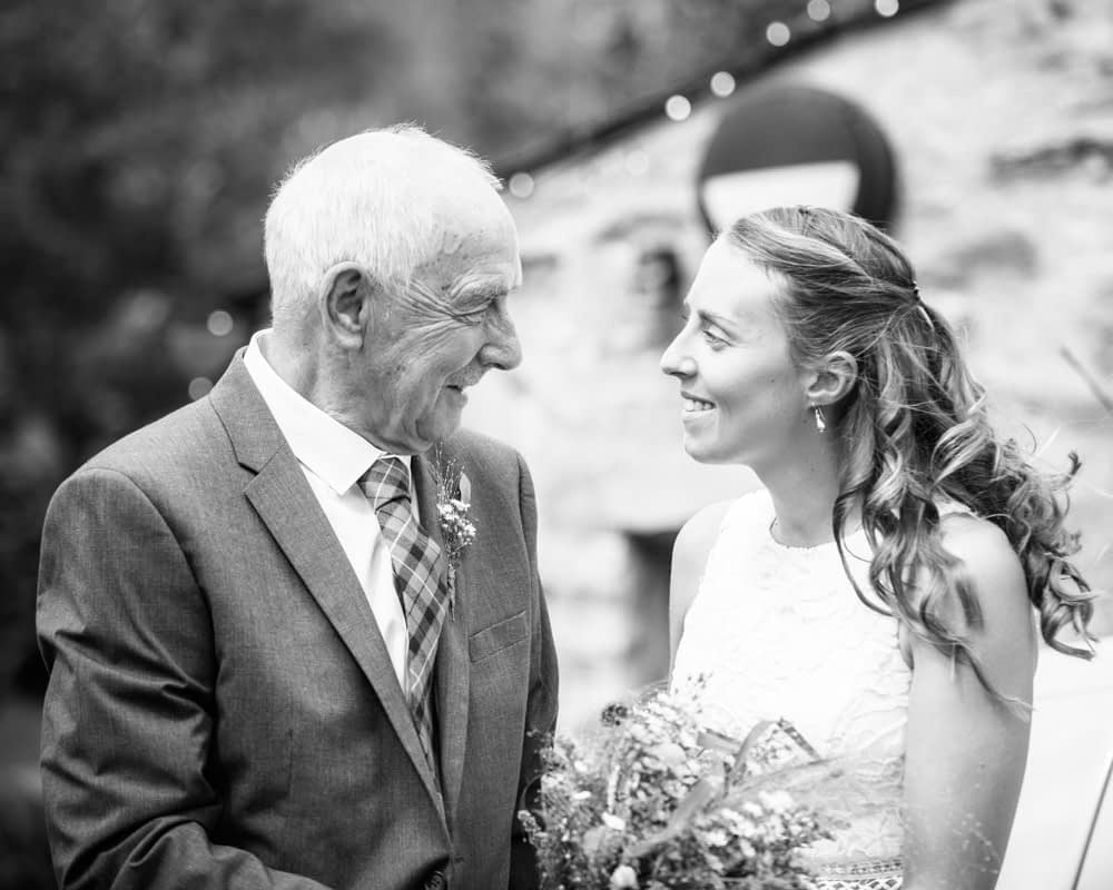 Bec and her Dad arriving at wedding, Howgills wedding, Sedbergh, Lake District wedding photographers