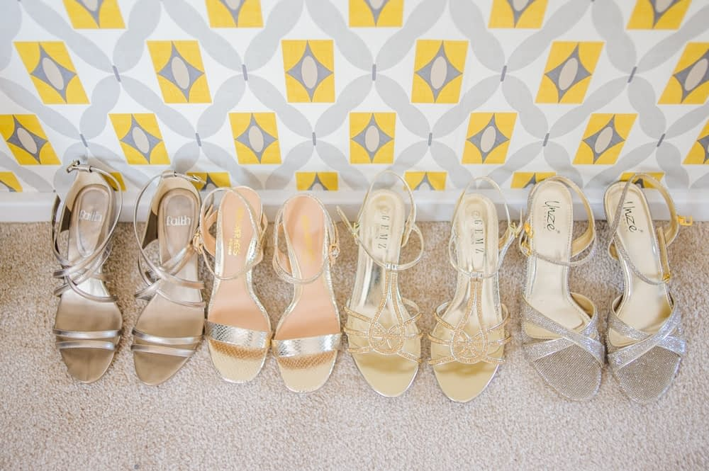 All the bridal party shoes lined up, Maynard wedding, Sheffield photographers