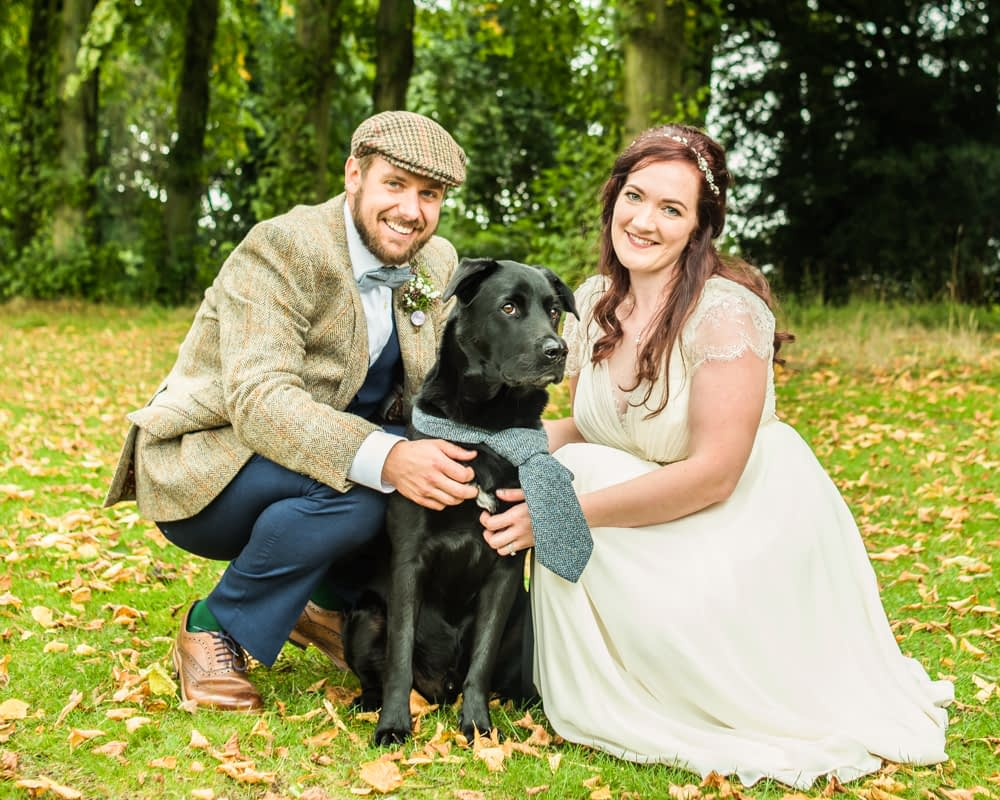 Bride, groom and their dog in matching tie, wedding in Sheffield