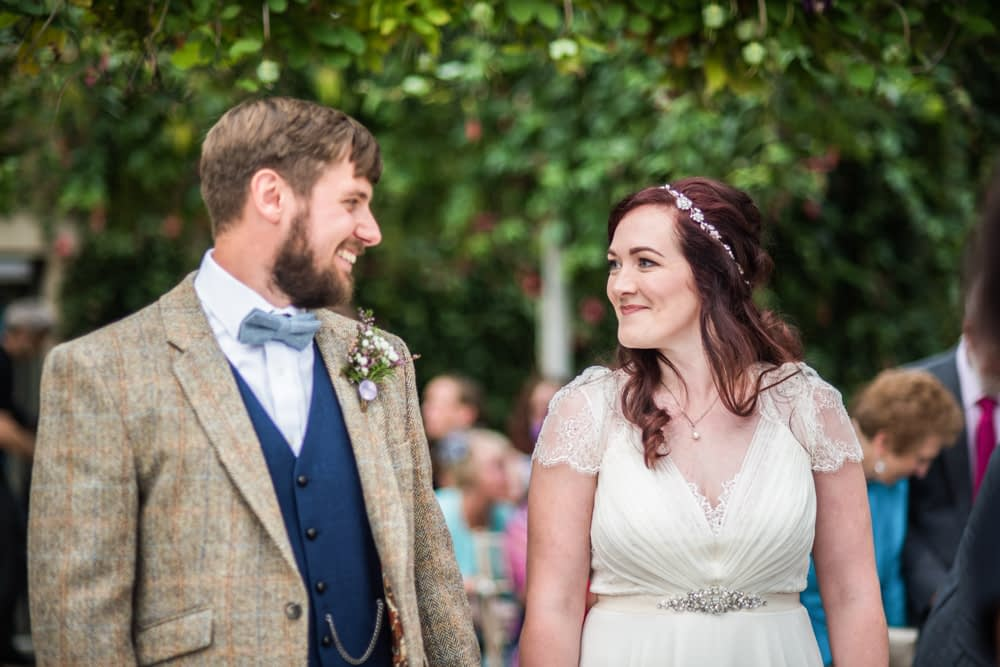 Smiles in ceremony,  Wentworth Castle Garden wedding, Sheffield photographers