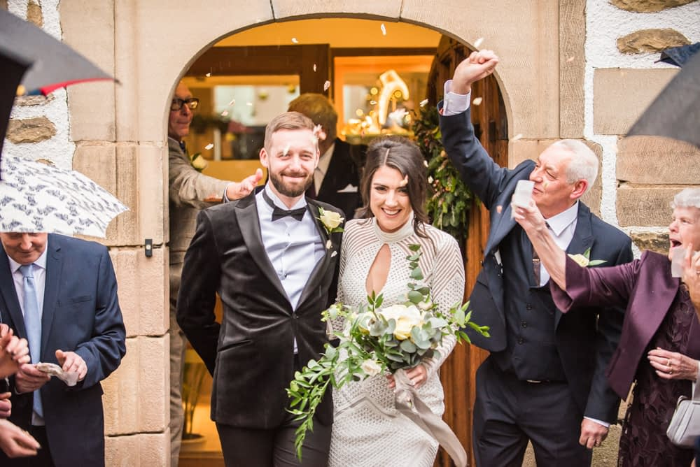 Confetti outside main doorway, Losehill House weddings, Sheffield wedding photography