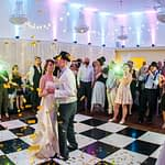 Wedding confetti canon during first dance at Wortley Hall