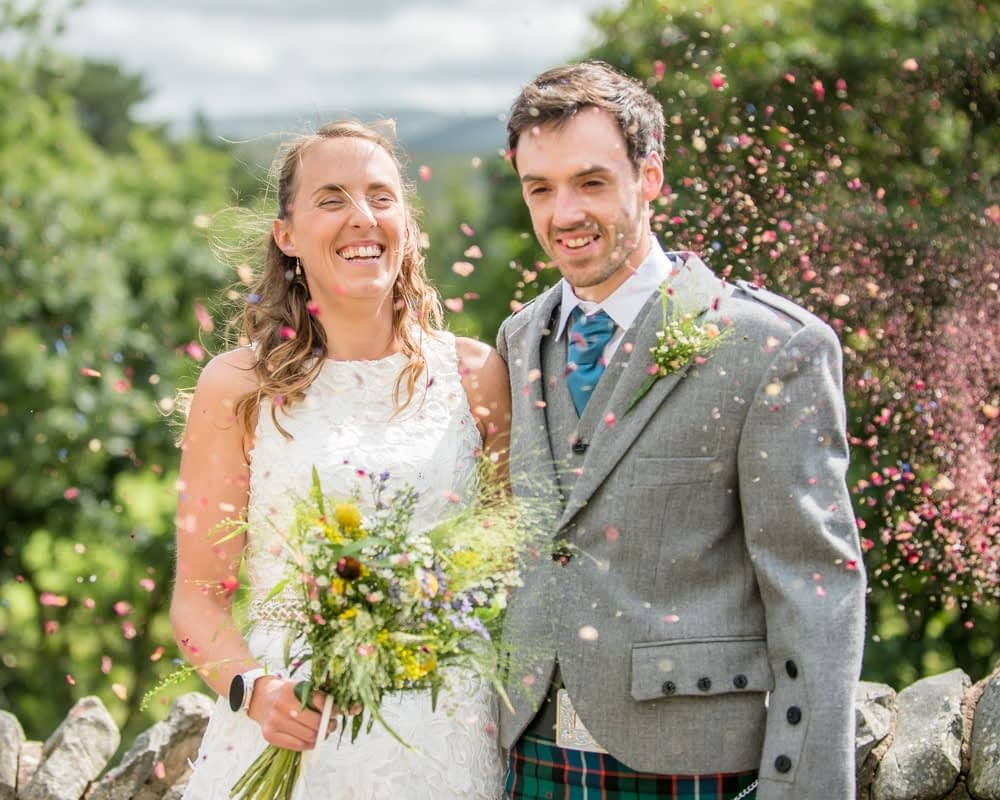 More confetti, Howgills wedding, Sedbergh, Lake District wedding photographers