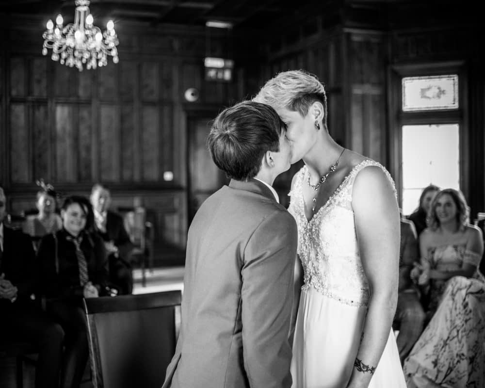 First kiss, Carlisle Register office, Lake District wedding photography