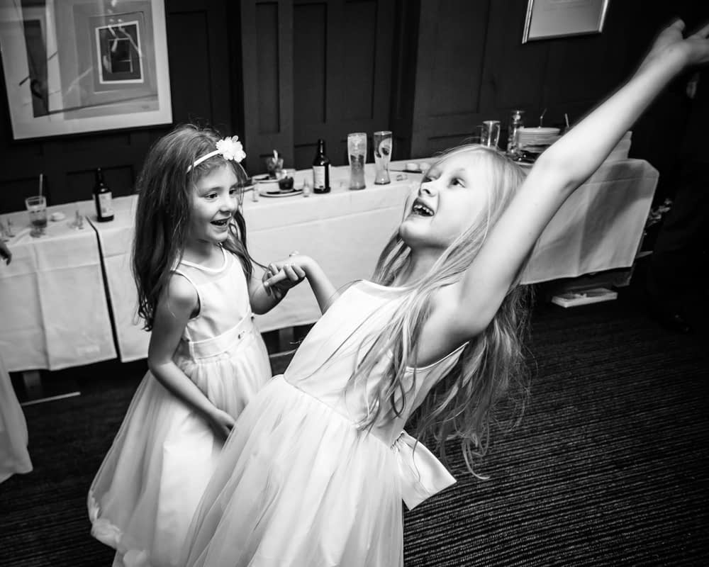Flowergirls dancing, Sheffield wedding photography
