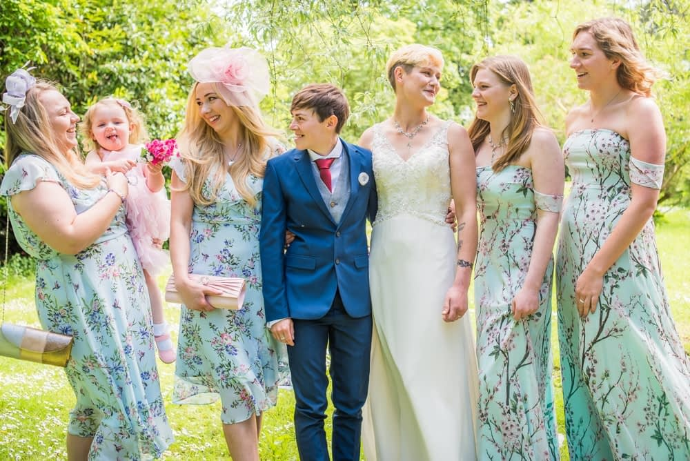 With the bridesmaids, Carlisle Register office, Lake District wedding photography