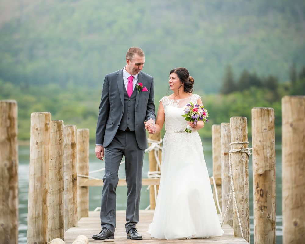 Laughing walking, Lingholm wedding, Lake District