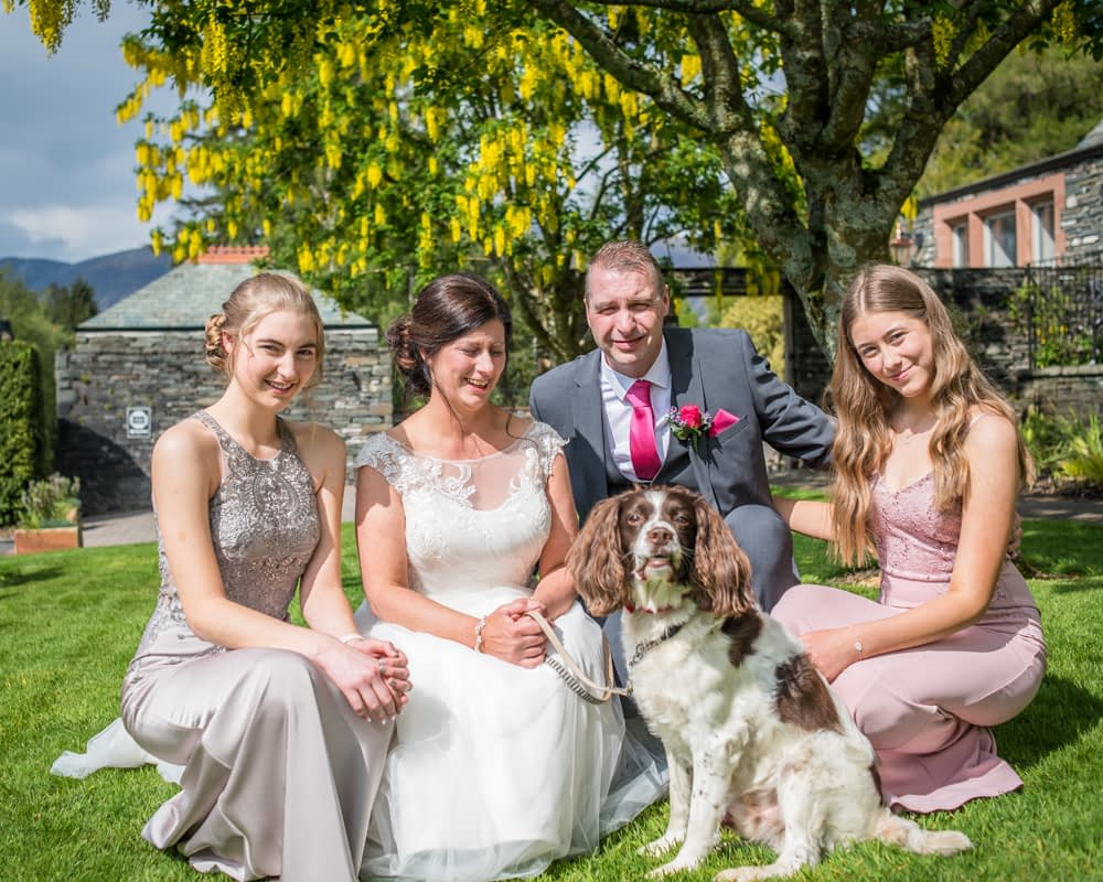 The family with their dog, Lingholm wedding, Lake District