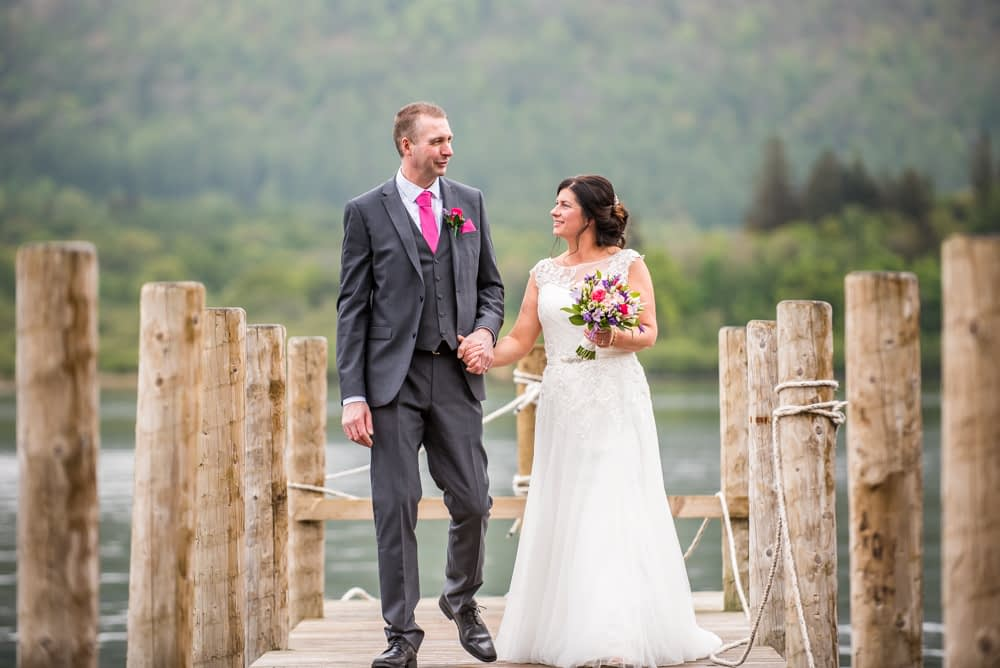 Walking down jetty, Lingholm wedding, Lake District