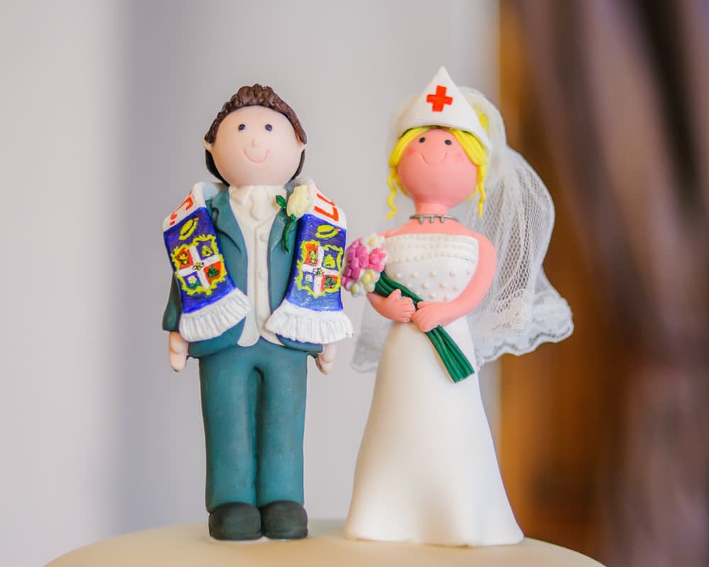 Bride and groom cake topper, Maynard wedding photography Sheffield