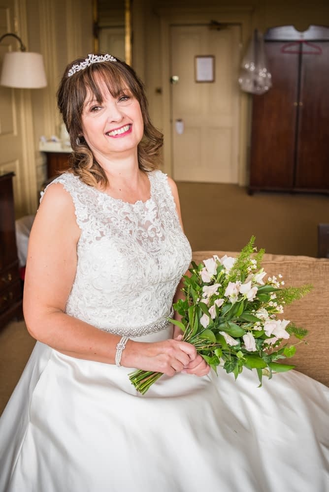 Judith relaxing before the ceremony, Merewood Country Hotel Hotel weddings, Lake District