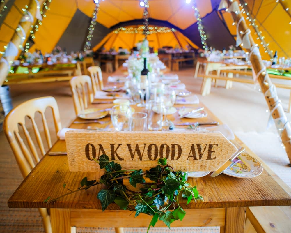 tipi wedding table names,  Wentworth Castle Garden wedding, Sheffield photographers