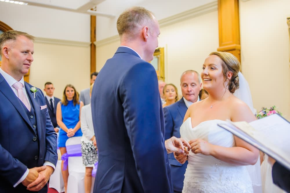 Laughing in ceremony,  Sheffield Town Hall weddings
