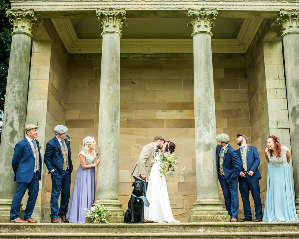 Bridal party on steps, Wentworth Castle Garden wedding, Sheffield photographers