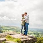 Surprise View rocks, pre-wedding portraits Sheffield