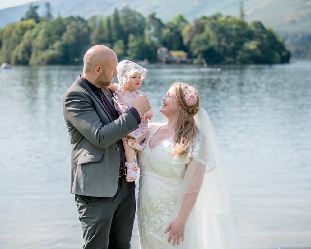 With Derwentwater in the background, Derwentwater Rock the Dress, Lake District wedding photographer