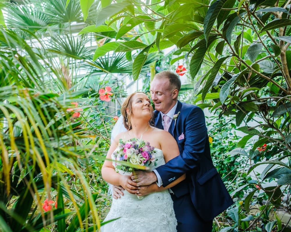 Inside the greenhouse,  Botanical Gardens Wedding Sheffield