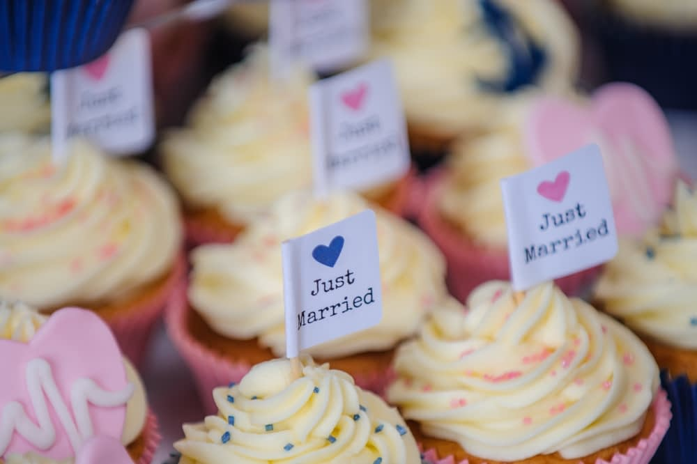 Just married cupcakes,  Botanical Gardens Wedding Sheffield