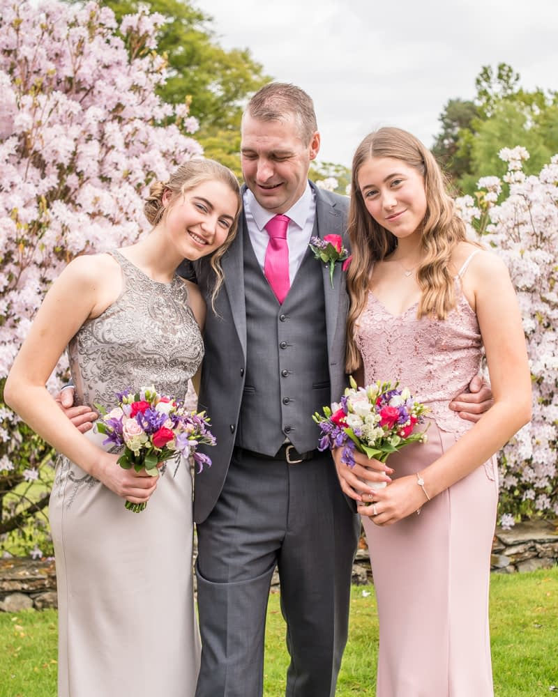Monty and his daughters, Lingholm wedding, Lake District