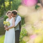 Bride and groom posing in hotel grounds, Ringwood Hall weddings, Sheffield wedding photographer