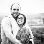 Max and Louisa cuddling at Surprise View, Sheffield wedding photographers