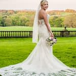 Bride posing in her dress in grounds, Wortley Hall, Sheffield wedding photography