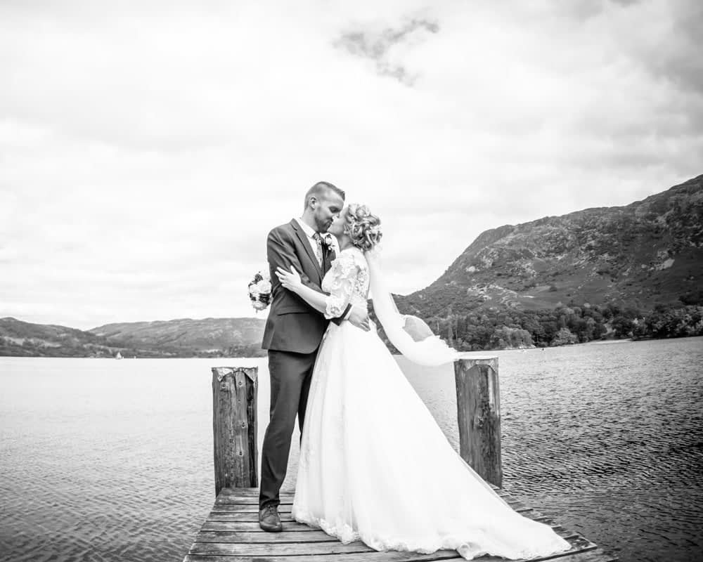 Black and white on jetty with veil, Inn on the Lake Weddings, Lake District