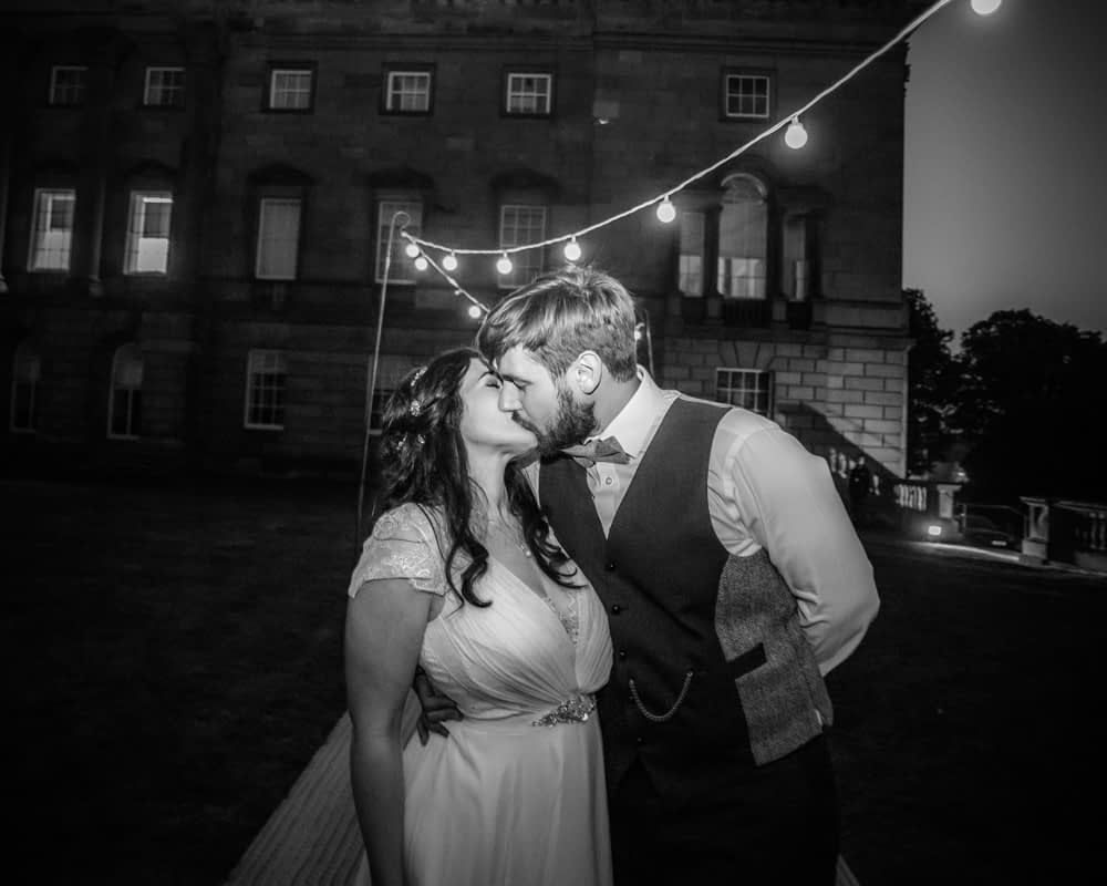Kisses in dark,  Wentworth Castle Garden wedding, Sheffield photographers