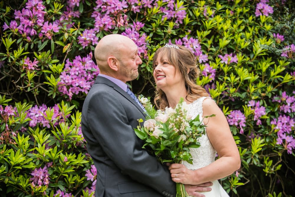 In front of the rhododendrons, Merewood Country Hotel Hotel weddings, Lake District