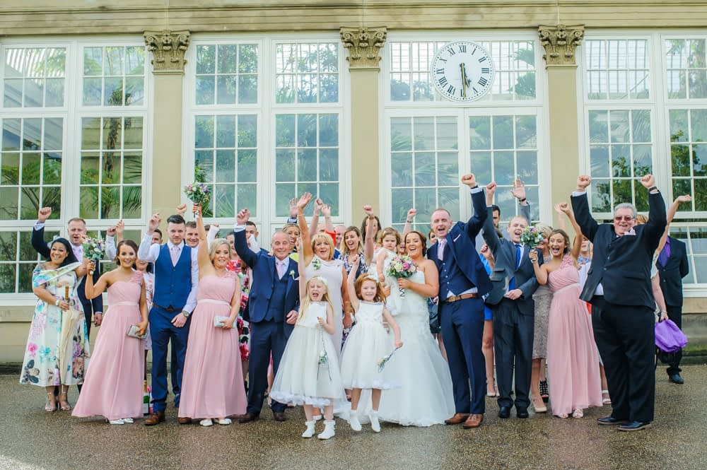 Group photo, Botanical Gardens Wedding Sheffield