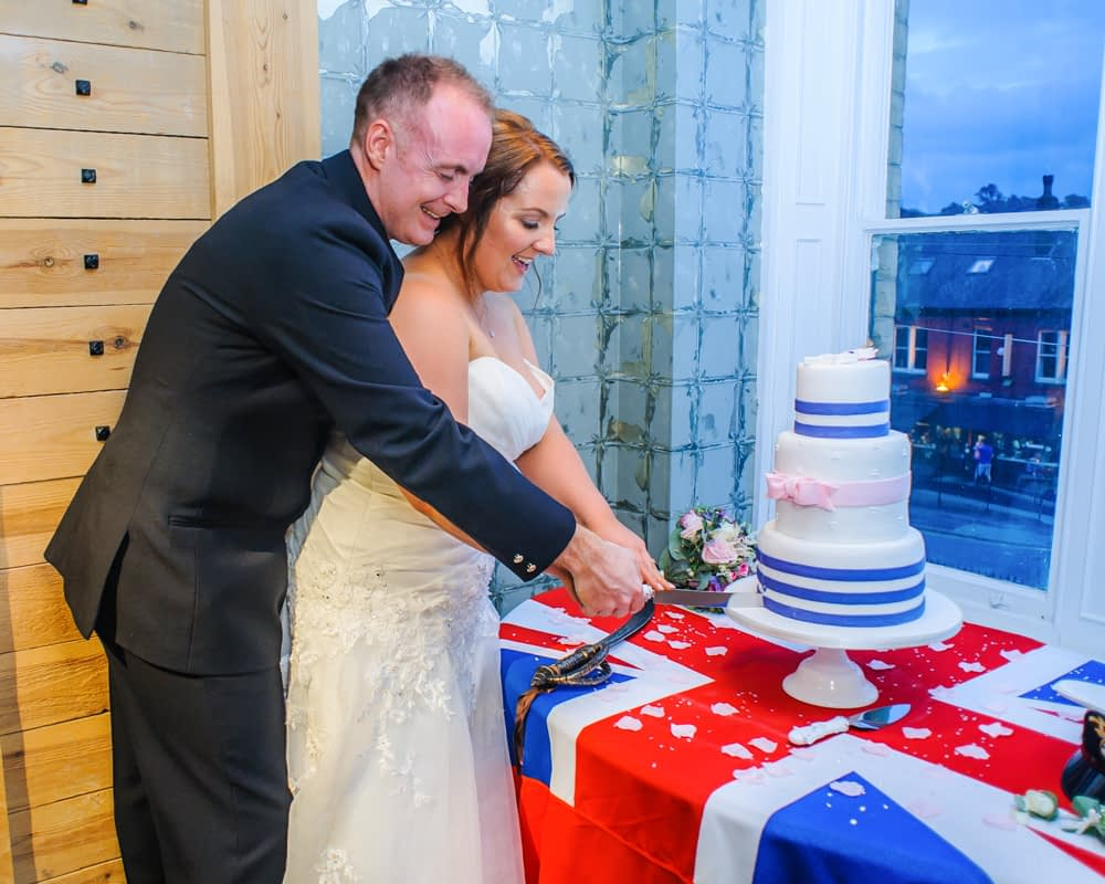 Navy military cake cutting, Sheffield wedding photography
