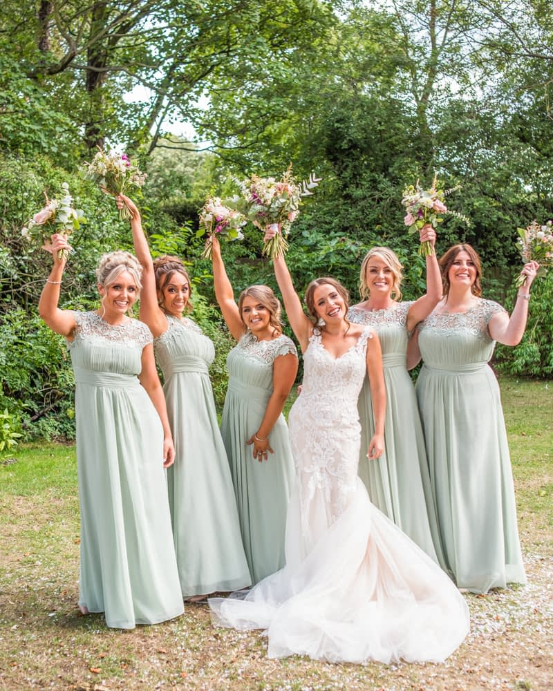 Bridesmaid squad photo at Mosborough Hall, Sheffield