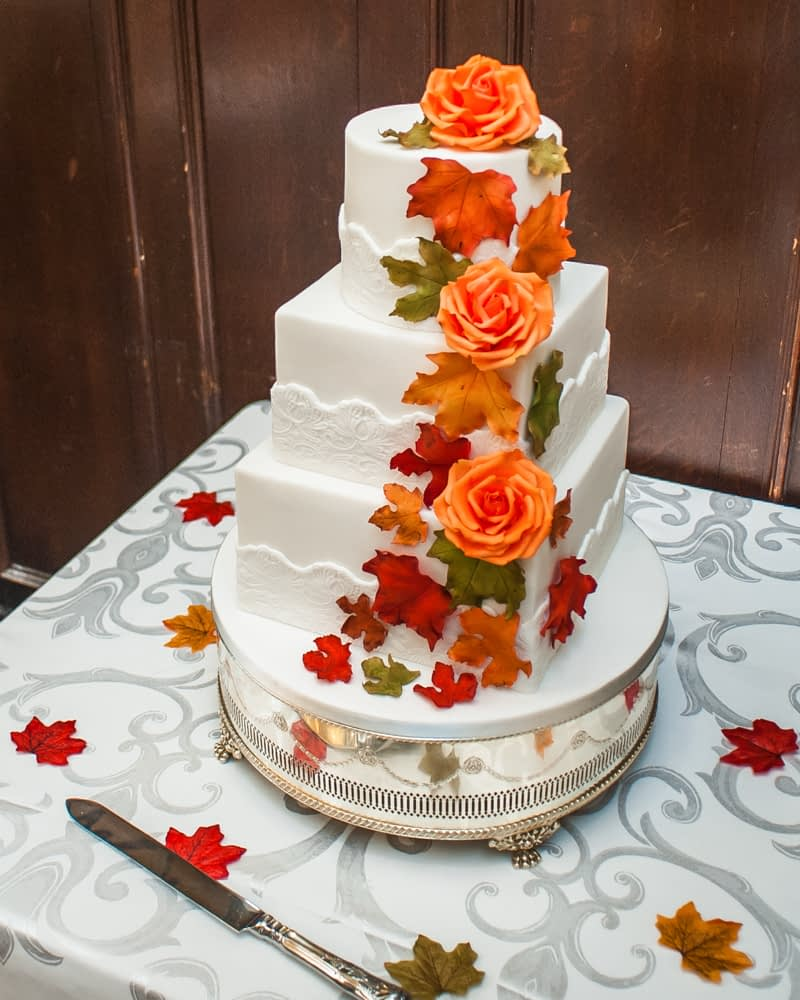 Wedding cake with Autumnal leaves