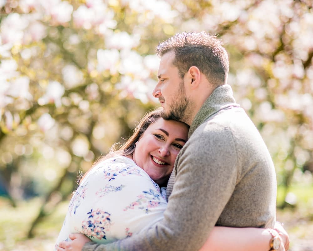 Cuddles in blossoms, Yorkshire wedding photographers