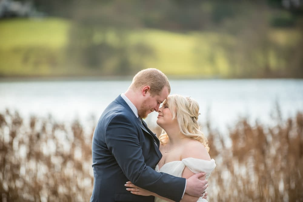 Bride and groom looking at each other, Daffodil Hotel and Spa, Grasmere, Lake District wedding photos