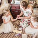 bridesmaids looking at gifts in Wortley Hall