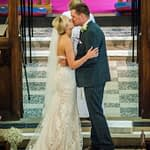 Bride and groom first kiss in church, Wortley Hall, Sheffield wedding photography