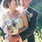 Bride and groom cuddle at Wortley Hall in Sheffield