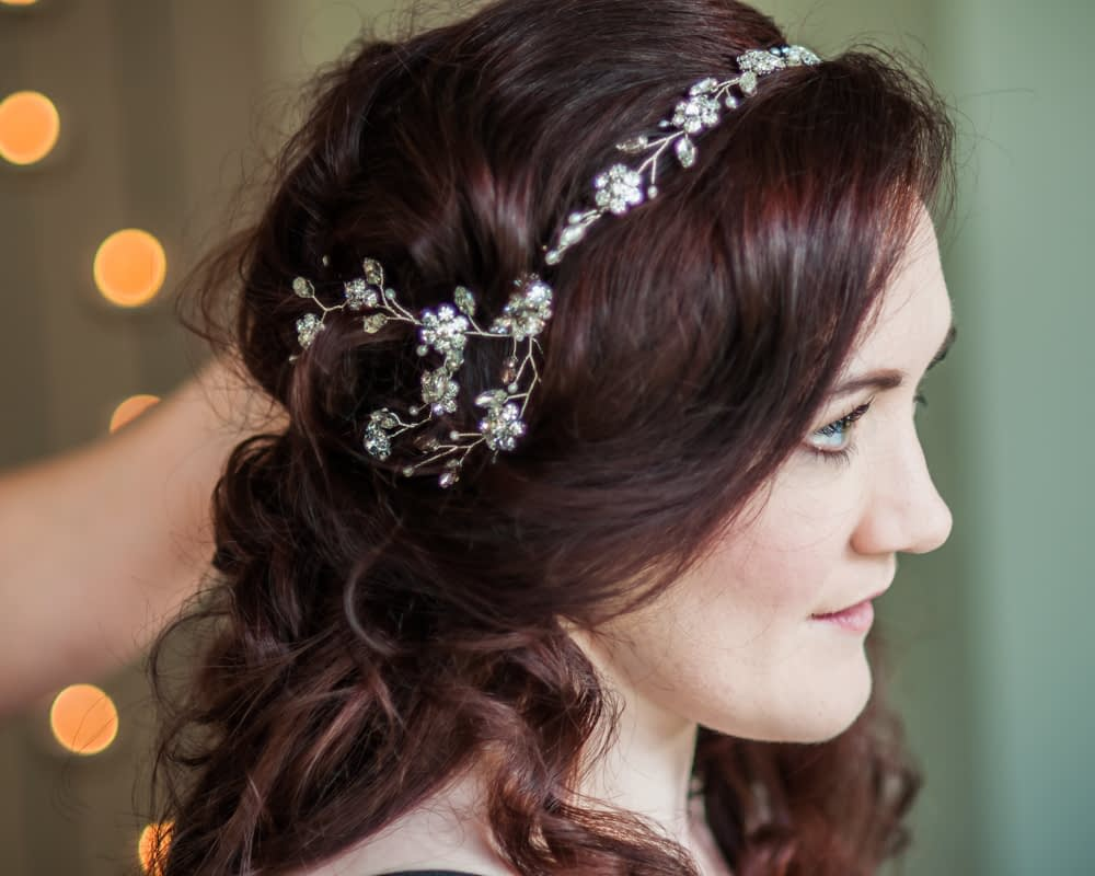 Hair vine,  Wentworth Castle Garden wedding, Sheffield photographers