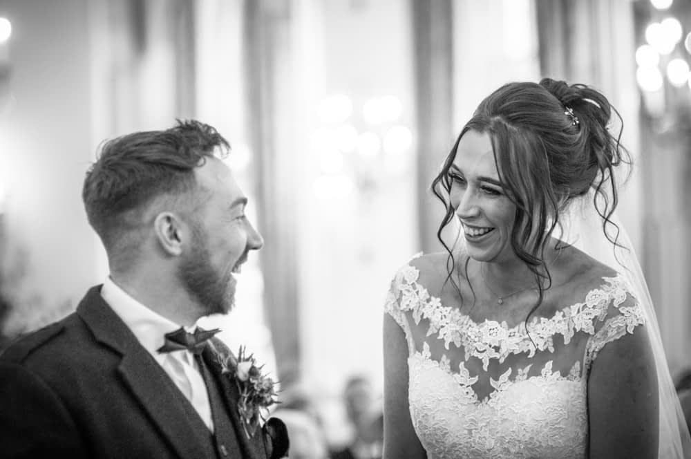 Laughing in ceremony, Sheffield wedding photographers, Ringwood Hall Hotel
