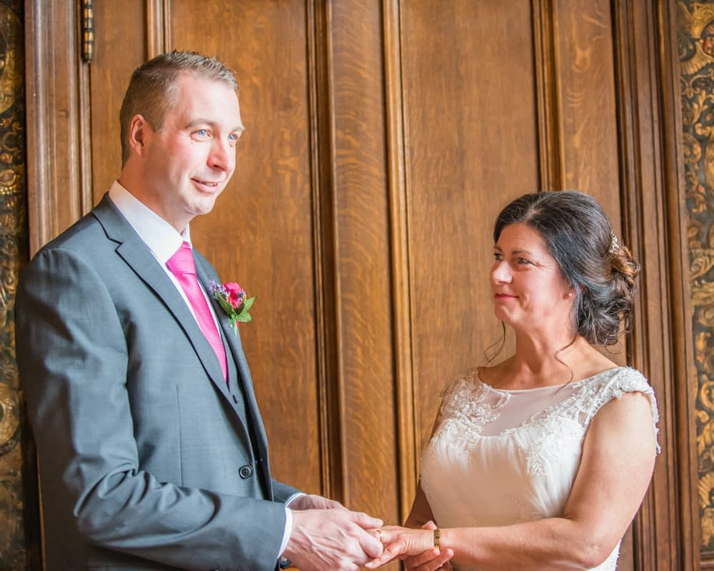 Vow exchange, Lingholm wedding, Lake District