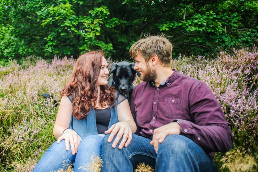 Looking at each other with dog, Greno woods weddings