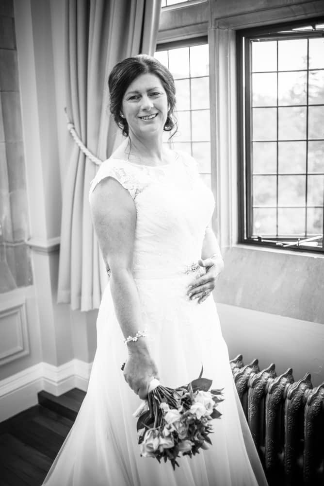 Gill, happy in her dress, Lingholm wedding, Lake District