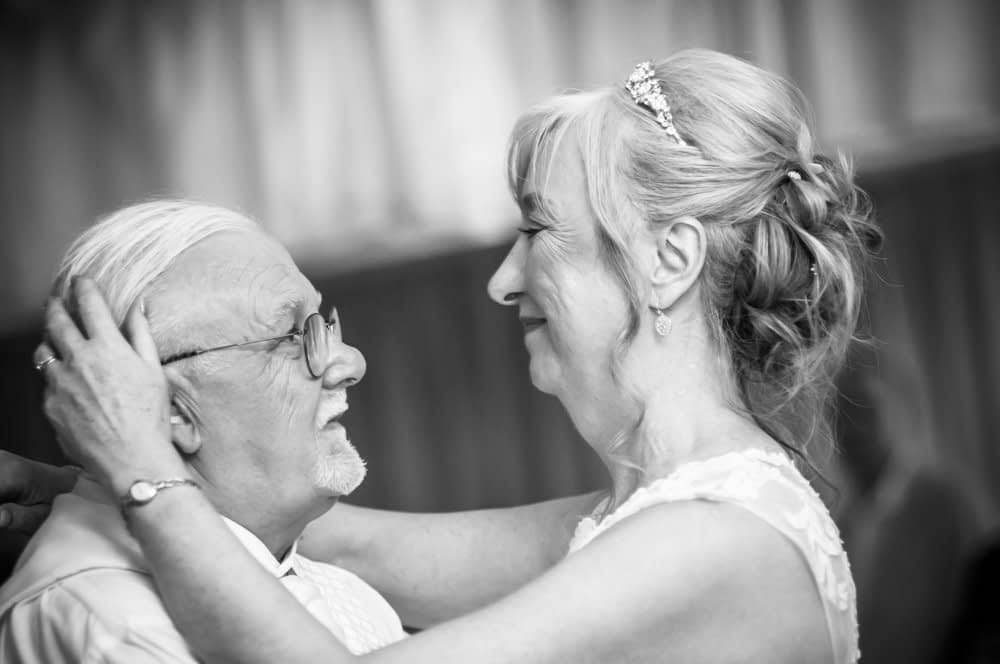 Close up first dance looks,  Hotel Van Dyk wedding photography Chesterfield