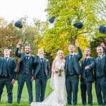 Groomsmen tossing their flat caps, Wortley Hall, Sheffield wedding photography
