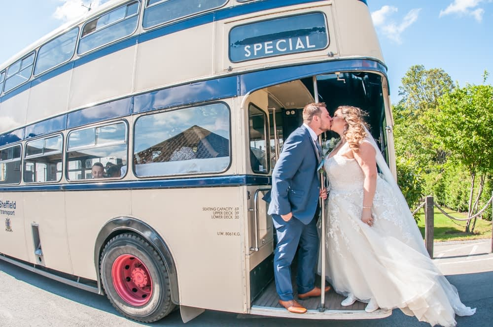 Bride and groom on Sheffield bus, Ye Olde Bell wedding, Retford