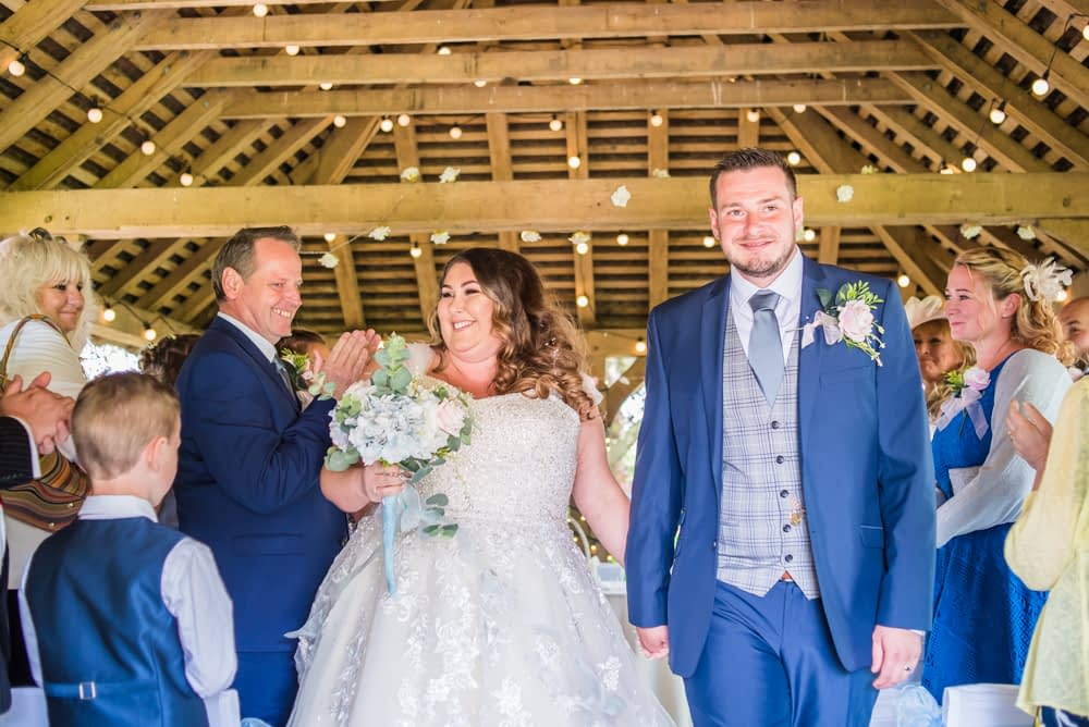 Walking down aisle, outdoor wedding,  Ye Olde Bell wedding, Retford