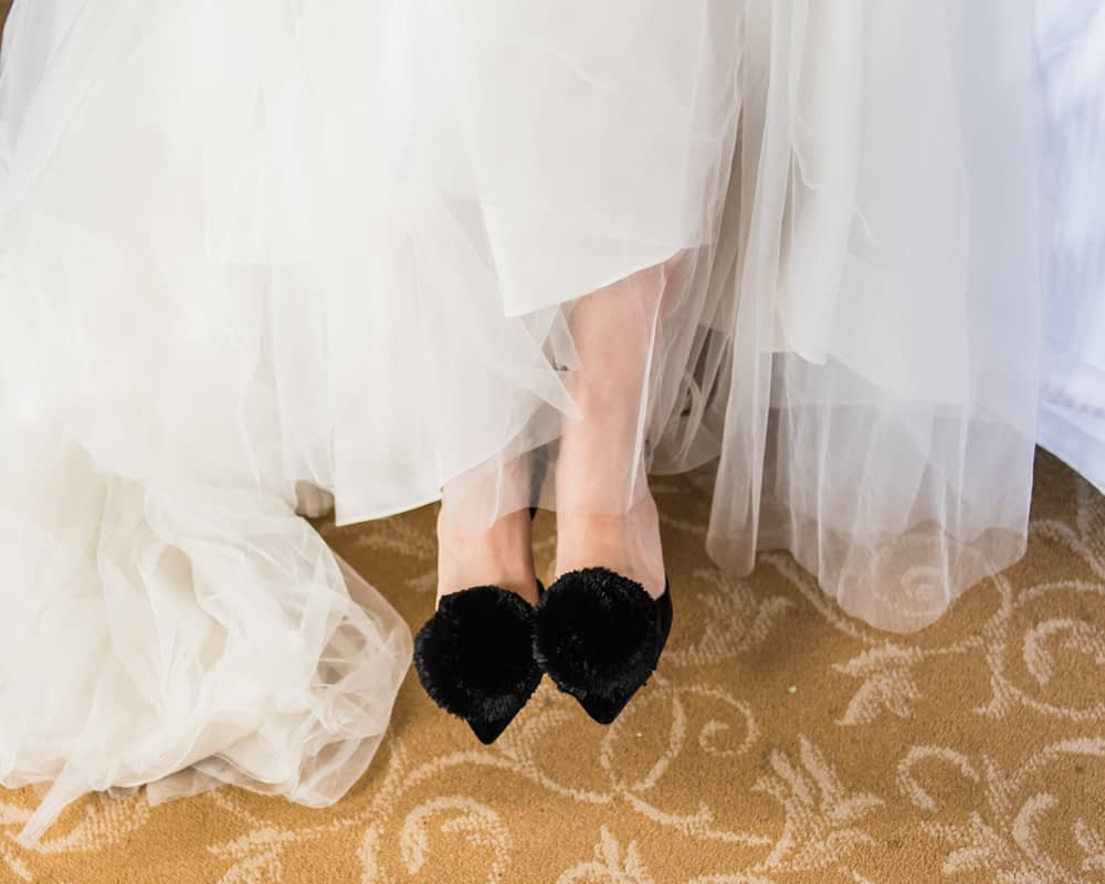 Bride's shoes, Overwater Hall wedding, Lake District