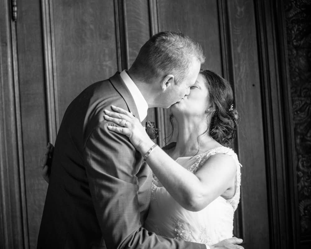 First kiss, Lingholm wedding, Lake District